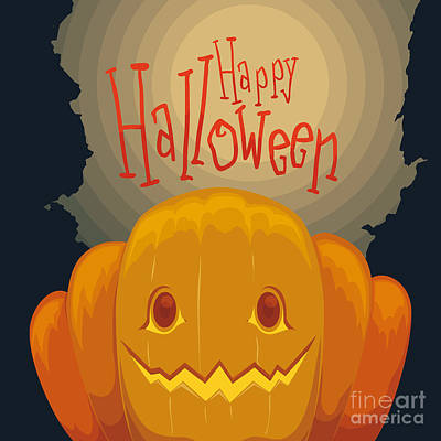 Autumn Digital Art - Happy Halloween Pumpkin Poster With by Penwin