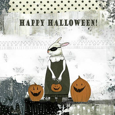 Halloween Pumpkin Painting - Happy Halloween Rabbit by Sarah Ogren
