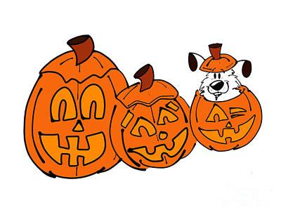 Cute Dog Digital Art - Happy Halloween by Rachel Barrett