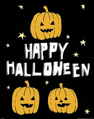 Jack O Lanterns Painting - Happy Halloween by Wild Apple Portfolio
