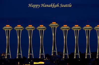 Hanukah Photograph - Happy Hanakkah Seattle by Tikvah's Hope