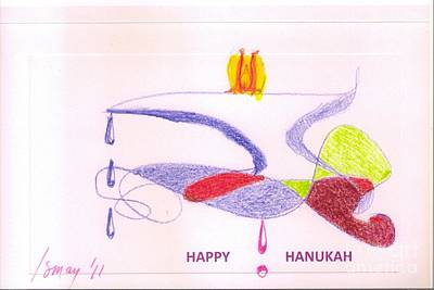 Drawing - Happy Hanukah Card by Rod Ismay