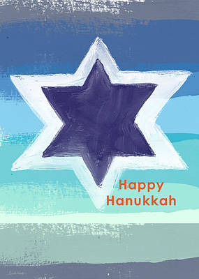 Modern Jewish Painting - Happy Hanukkah Card by Linda Woods