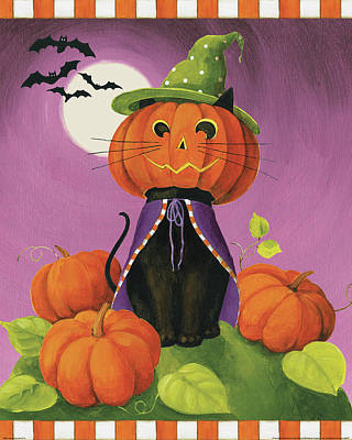 Pumpkins Painting - Happy Haunting Cat by Lisa Audit