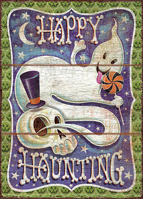 Pumpkins Painting - Happy Haunting by P.s. Art Studios