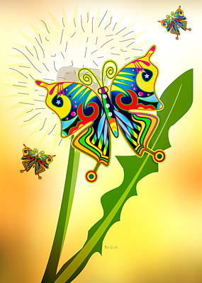 Happy Hippie Butterflies Art Print by Bob Orsillo