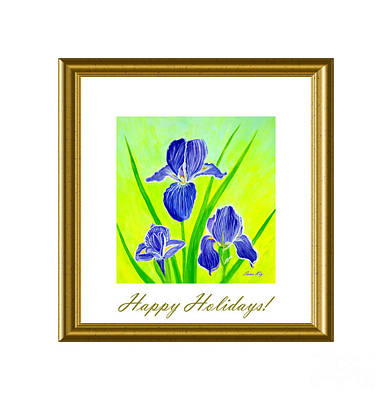Digital Art - Happy Holidays. Beautiful Iris Flowers by Oksana Semenchenko
