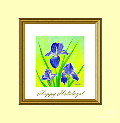 Digital Art - Happy Holidays. Beautiful Irisflowers by Oksana Semenchenko