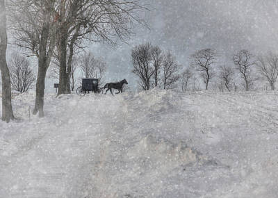 Horse And Buggy Photograph - Happy Holidays From Pa by Lori Deiter