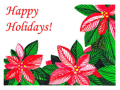 Poinsettias Painting - Happy Holidays by Irina Sztukowski