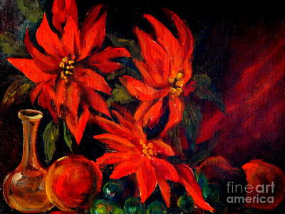 New Orleans Red Poinsettia Oil Painting Art Print by Michael Hoard