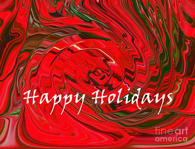 New Mind Digital Art - Happy Holidays Red And Green Abstract Design by Minding My  Visions by Adri and Ray