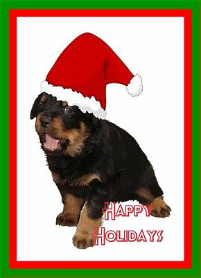 Happy Holidays Rottweiler Christmas Greetings  Print by Tracey Harrington-Simpson