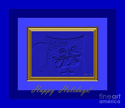 Digital Art - Happy Holidays. Royal Blue by Oksana Semenchenko