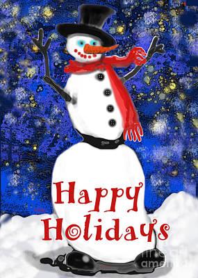 Digital Art - Happy Holidays Snowman by Carol Jacobs