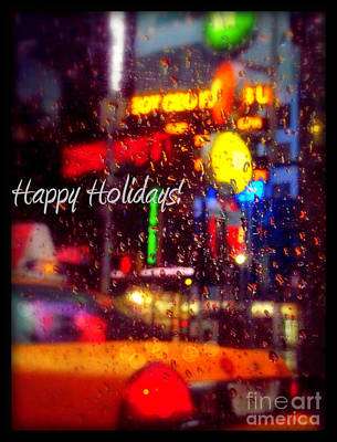Photograph - Happy Holidays - Taxi In The Rain - Holiday And Christmas Card by Miriam Danar