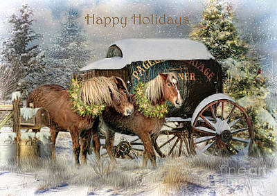 Wagon Mixed Media - Happy Holidays by Trudi Simmonds