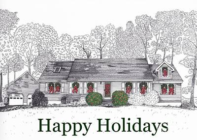 Drawing - Happy Holidays Two by Michelle Welles