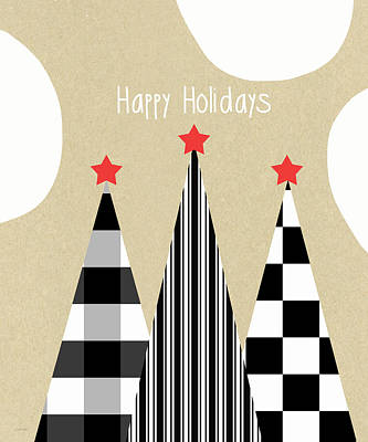Primitive Mixed Media - Happy Holidays With Black And White Trees by Linda Woods