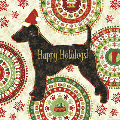 Animal Christmas Painting - Happy Holidogs Iv by Veronique Charron