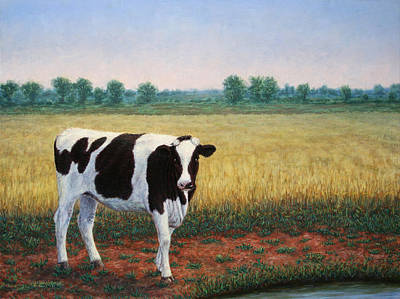 Cow Wall Art - Painting - Happy Holstein by James W Johnson