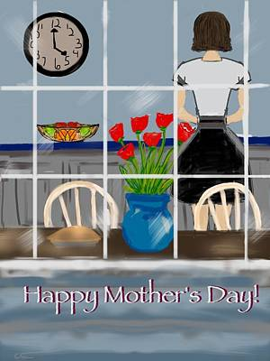 Art Print featuring the digital art Happy Homemaker by Christine Fournier