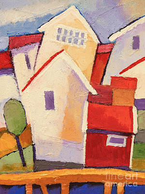 Fishing Village Painting - Happy Houses by Lutz Baar