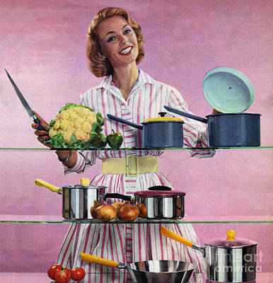 The Sixties Drawing - Happy Housewife In Kitchen 1960s Uk by The Advertising Archives
