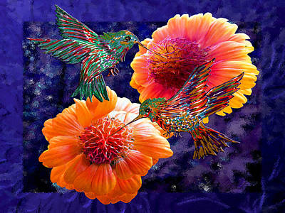 Painting - Happy Hummingbirds In Flowers by Michele Avanti
