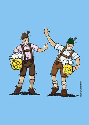 Happy Lederhosen Men With Beer Stein Print by Frank Ramspott