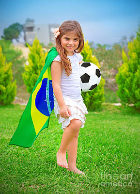 Happy Little Football Player Art Print by Anna Om