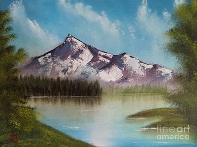 Wet-on-wet-technique Painting - Happy Little Mountain by Richard Vanston