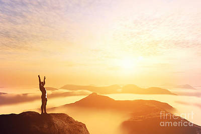 Happy Man With Hands Up On The Top Of The World Above Clouds Art Print by Michal Bednarek