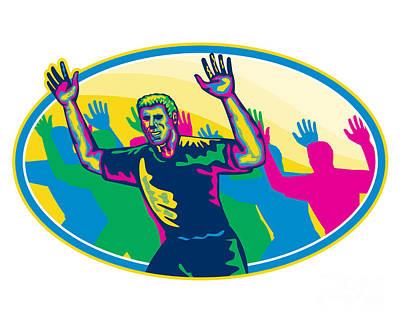 Happy Marathon Runner Running Oval Retro Art Print by Aloysius Patrimonio