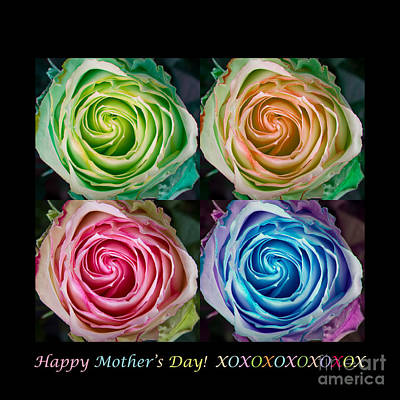 Photograph - Happy Mothers Day Hugs Kisses And Colorful Rose Spirals by James BO  Insogna