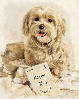 Maltese Happy New Year Art Print