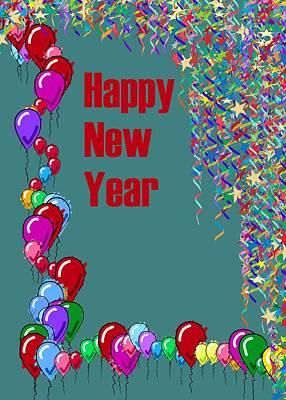 India Digital Art - Happy New Year Card by Usha Shantharam