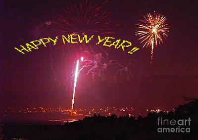 Art Print featuring the photograph happy New Year fireworks by Gary Brandes