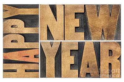 Happy New Year In Wood Type Art Print