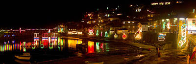 Photograph - Happy New Year Mousehole Christmas Lights by Tony Mills