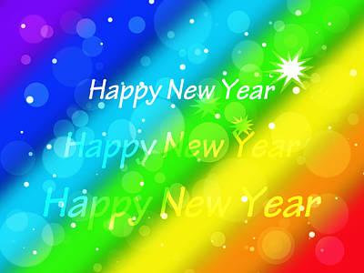 Illuminated Wall Decorations Photograph - Happy New Year Rainbow by Gill Billington