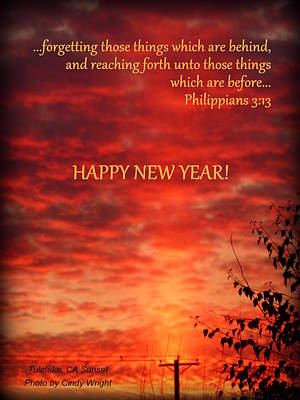 Photograph - Happy New Year Sunset by Cindy Wright