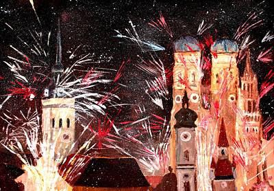 Happy New Year - With Fireworks In Munich Art Print by M Bleichner