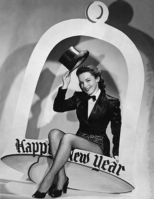 Beautiful Western Women Photograph - Happy New Year Woman by Underwood Archives