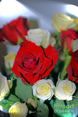 Photograph - Happy. Red And Yellow  Roses Bouquet by Oksana Semenchenko
