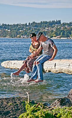Photograph - Happy Older Couple Splashing Feet In Water Art Prints by Valerie Garner