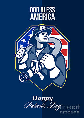 Happy Patriots Day God Bless America Retro Art Print by Aloysius Patrimonio