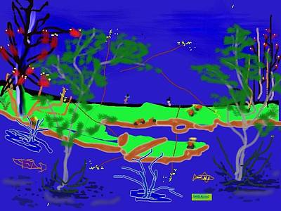 Happy Peninsula Digital Painting Art Print by Colette Dumont