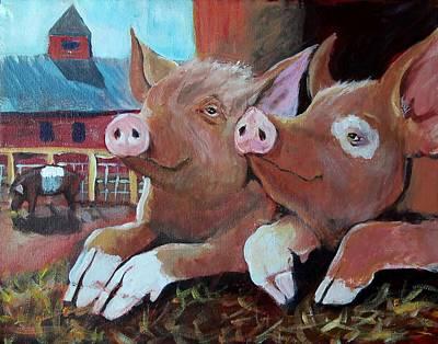 Happy Pigs Art Print by Dona Davis