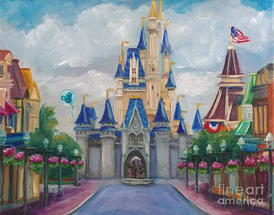 Cinderella Castle Painting - Happy Place by Marnie Bourque